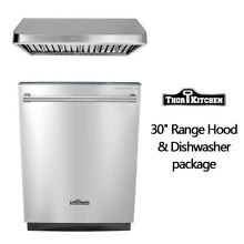 Thor Kitchen Build In Stainless Steel 24 inch dishwasher 30  range hood package