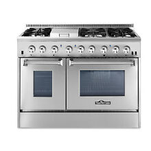 48 gas Range Stainless Steel HRD4803U 6 Burners double ovens Thor Kitchen