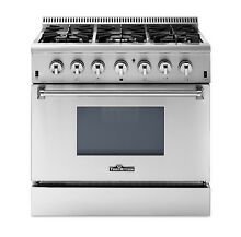 36 inch Dual Fuel 6 burner gas Range Stainless Steel Thor Kitchen