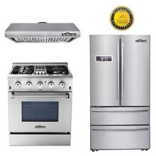 Thor Kitchen Dual Fuel 4 burners 36 Fridge range hoods 30 stainless steel
