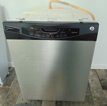 Pre Owned GE Built in Dishwasher Finger Proof Clean Steel with Black Works Well