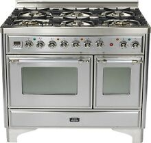 Ilve UMD1006DMPIX Majestic 40  Pro Dual Fuel Double Oven Range Stainless Steel