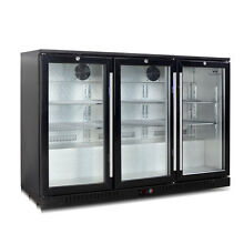KingsBottle 383 Cans Glass Door Under Counter Beverage Cooler Bar Fridge Black