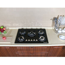 WindMax 30  Black Tempered Glass Built in 5 Burners LPG NG Gas Hob Cooktops   US