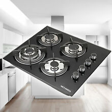 24  Black 4 Burners Built in LPG NG Gas Cooktops Stove Tempered Glass   US