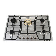 30  Stainless Steel   Gold  Stove 5 Burners Hob Built In Natural Gas Cooktops US