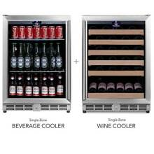 NEW Under Counter Beverage and Wine Cooler Combo Stainless Steel Glass Door