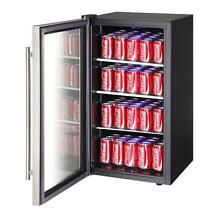 90 Can Cooler Beverage Center Beer Soda Fridge Drink Freestanding Glass Door