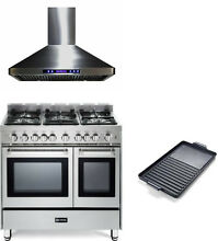 Verona 36  Pro Style All Gas Range Double Oven Stainless Steel W  Hood  Griddle