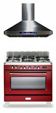 Verona Classic VCLFSGE365R 36  Pro Style Dual Fuel Gas Range Oven Hood 2Pc Set