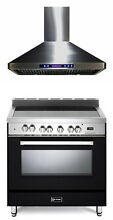 Verona VEFSEE365E 36  Electric Range Single Oven Matte Black Hood Package