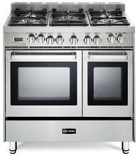 Verona VEFSGE365NDSS 36  Pro Style Dual Fuel Double Oven Range Stainless Steel