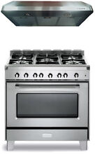 Verona Classic VCLFSGG365SS 36  Pro Style All Gas Range Oven Stainless Package