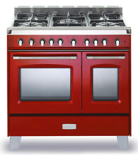 Verona Classic VCLFSGG365DR 36  Pro Style All Gas Range Double Oven Gloss Red