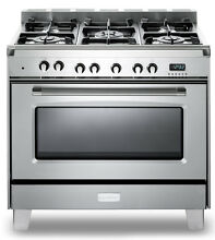 Verona Classic VCLFSGE365SS 36  Pro Style Dual Fuel Gas Range Oven Stainless