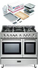 Verona VEFSGG365NDSS 36  Pro Style Gas Range Double Oven Stainless Steel 2pc Set