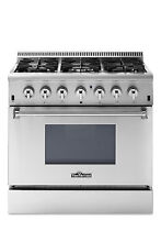 Thor Kitchen 36  Duel Fuel Range 6 Burner Stainless Steel Free Microwave Oven
