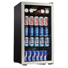 Beverage Center 120 Can Cooler Beer Soda Fridge Drink Freestanding Glass Door