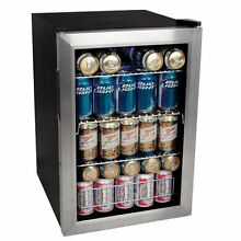 Beverage Refrigerator Compact Stainless Steel 84 Can Clear Door Beer Soda Drinks