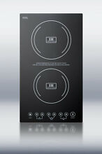 Summit SINC2220 Smoothtop Electric 12  Induction Cooktop 2 Zones 220 Volt Black