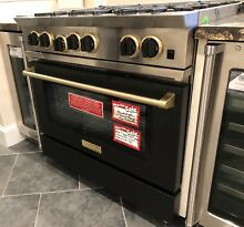 BlueStar RNB366BV2L 36  Range Matte Black   Brass Trim Upgrade LP MSRP  8400