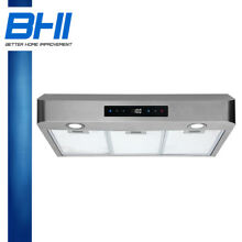 30  Range Hood Under Cabinet Stainless Steel Touch Panel 3 Mesh Filter LED Fan