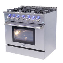 36 inch Thor HRG3618U Professional Gas Range Stove Oven 6 Burners Cooker Modern