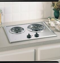 Ge JP201CBSS  Built In Electric Cooktop  2 Burner  Stainless Steel  21 25 X