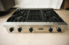 Viking Pro 36  Natural Gas Rangetop VGRT3604QSS Cooktop 4 Burner w  Center Grill