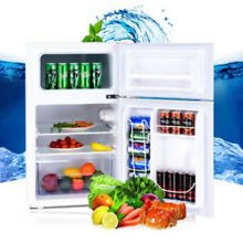 Small Costway Stainless Steel Refrigerator Small Freezer Cooler Fridge Compact