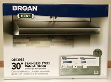NEW   BROAN 30  STAINLESS STEEL RANGE HOOD DUCTED or NON DUCTED QB130SS 3 SPEED