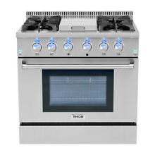 Thor 36  Gas Range Free Standing 4 Burners Cooktop 5 2cu ft Oven Steel HRG3617U