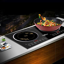 Portable 2200W Electric Dual Induction Cooker Cooktop Countertop Double Burner