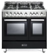 Verona VEFSGG365NDE 36  Pro Style Gas Range Turbo Double Convection Oven Black