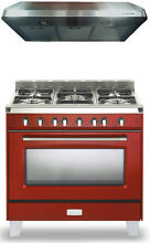 Verona Classic VCLFSGG365R 36  Pro Style All Gas Range Oven Package Gloss Red