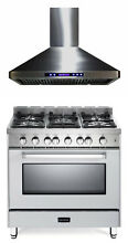 Verona VEFSGG365NW 36  Pro Style All Gas Single Range Oven True White With Hood