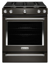 KitchenAid KSGG700EBS 30  Black Stainless Steel 5 Burner Gas Convection Range