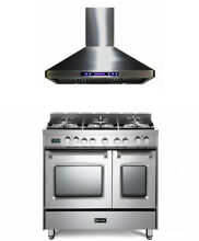 Verona Prestige Series 36  Dual Fuel Range Double Oven Stainless Steel With Hood