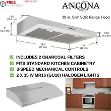 Non vented Stainless Steel Under Cabinet Range Hood 30 in With 3 Speed Controls
