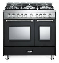 Verona Prestige VPFSGG365DE 36  All Gas Range Double Oven 5 Burner Matte Black