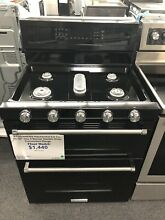 KitchenAid 30  Black Stainless Steel Gas Double Oven   KFGD500EBS
