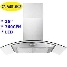 36  Wall Mount Stainless Steel Tempered Glass Electric 760CFM Stove Range Hoods