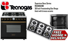 TECNOGAS RD361GCNB Superiore Deco 36 inch Gas Range Black with Bronze Accents