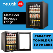 Black Mini Fridge Beverage Cooler With Glass Door Capacity To Hold Up To 90 Cans