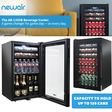 Black Mini Fridge Beverage Cooler With Glass Door   Capacity Hold Up To 126 Cans