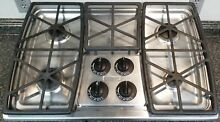 BEAUTIFUL STAINLESS STEEL KITCHENAID 4 BURNER GAS COOKTOP   KGCS105GSS06