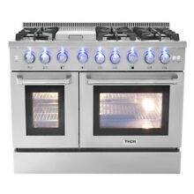 Thor 48 inch Gas Range Double Oven 6 Burner Cooktop Stainless Steel HRG4808U