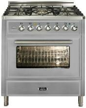 Ilve UMT76DMPI 30  Dual Fuel Range Oven 5 burner Stainless Steel Reduced Price