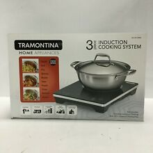 Tramontina 3 Piece Portable Tabletop Induction Cooking Cooktop System and Pan
