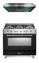 Verona Prestige VPFSGG365E 36  All Gas 5 Burner Range Oven Hood Set Matte Black